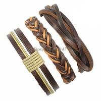 New Arrival Wholesale 3pcs Handmade Weave Wrap Hemp&Genuine Charm brown leather bracelet for men femme pulseira masculina -K54