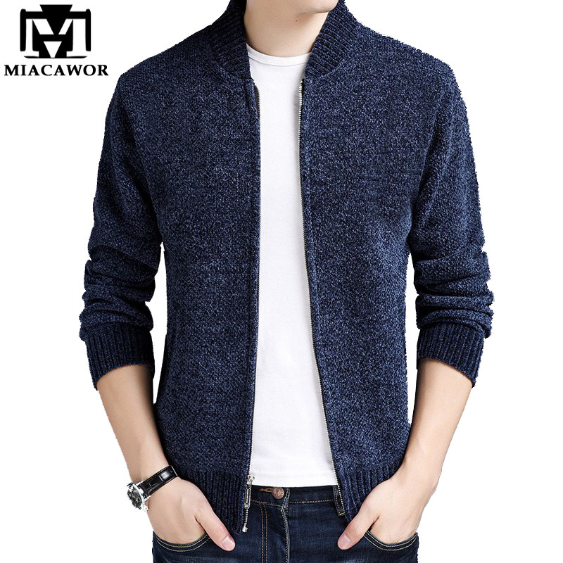 MIACAWOR New Autumn Winter Men Sweaters Coats Fleece Warm Wool Cardigan Men Casual Baseball Collar Sweatercoat Y120