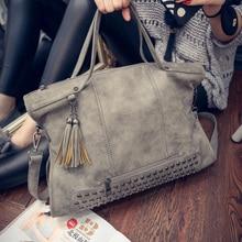 Mochilas Mujer Tassel Bags Women Branded Leather Rivet Handbag Shoulder Bag Nubuck Messenger Bag Tote Crossbody Bags For Women
