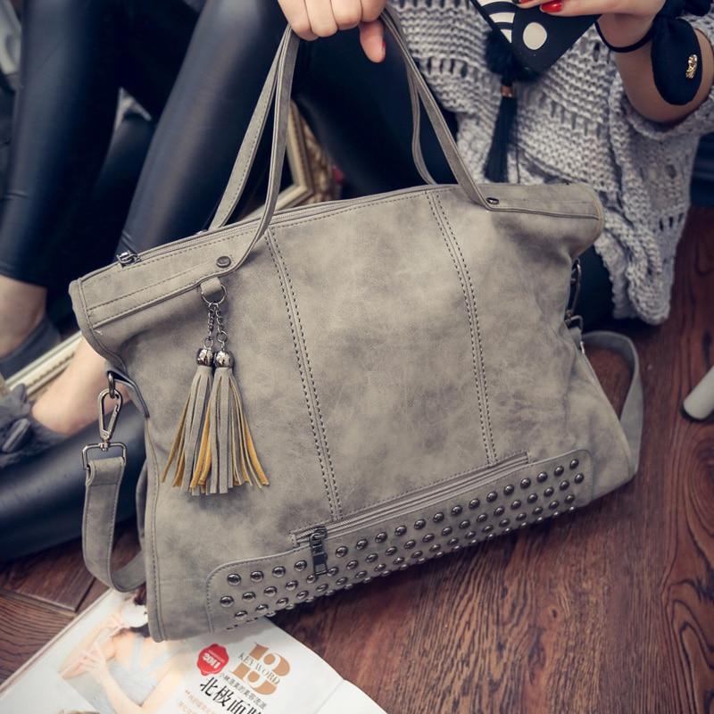 New Tassel Bags Women Branded Leather Rivet Handbag Shoulder Bag - Handbags
