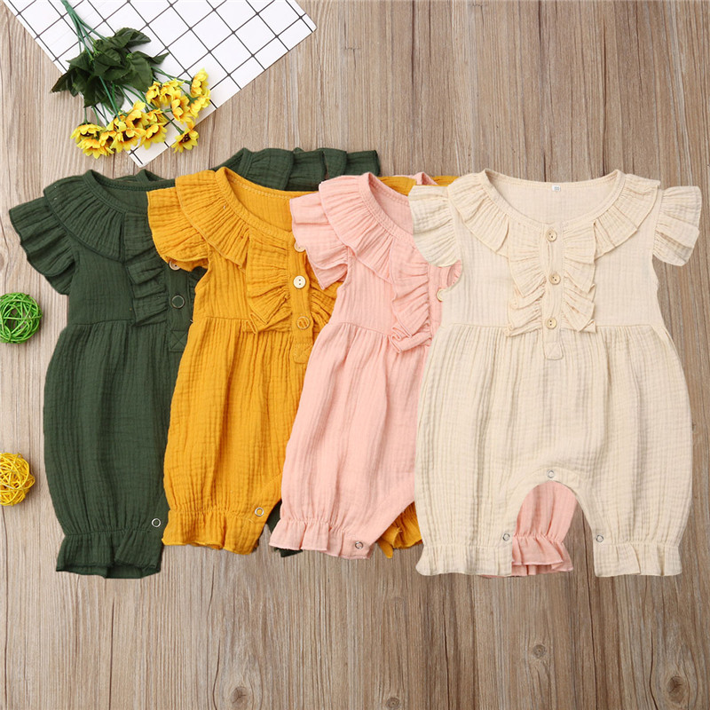 PUDCOCO UK Hot Newborn Baby Girls Solid Clothes Sleeveless Button   Romper   Playsuit Jumpsuit Summer Fashion Casual Outfits 0-24M