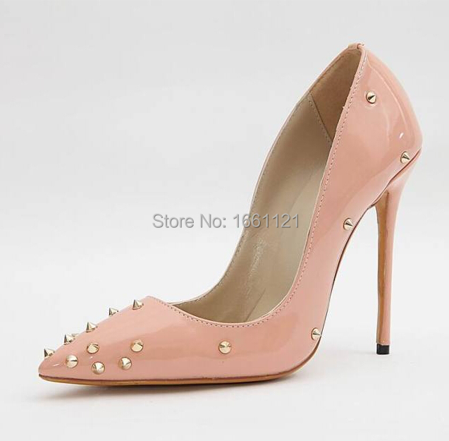 fb1436009da US $112.23 |High Quality Pointed Toe High Heels Rivets Black Light Pink  Sapatos Para Noivas Elegant Slip On Prom Shoes-in Women's Pumps from Shoes  on ...