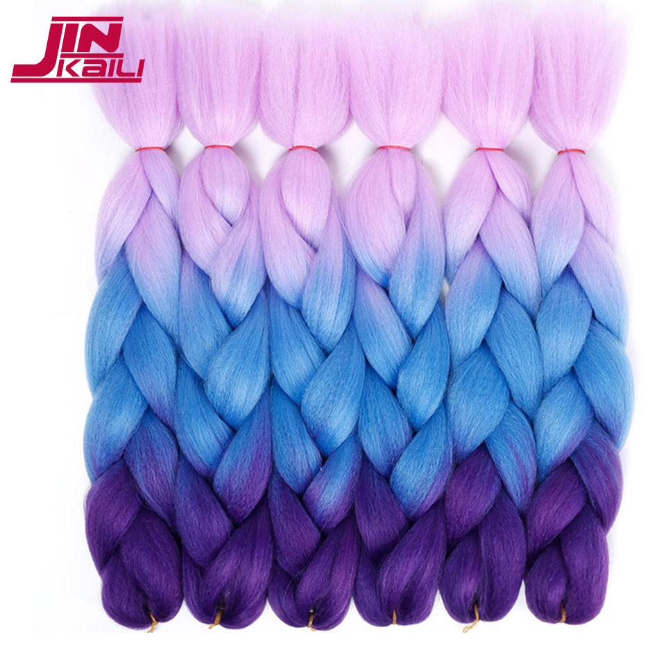 24 Kanekalon braiding hair ombre two tone colored jumbo braids hair synthetic hair for d ...