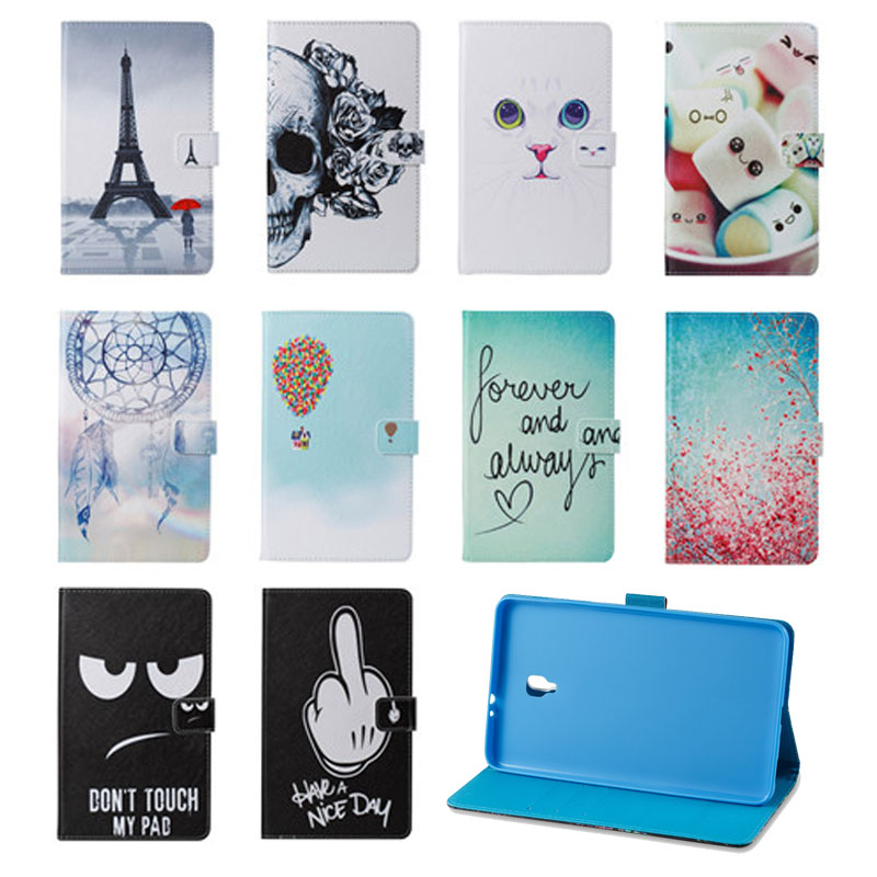 Cute Cat Owl Skull Print PU Leather Case For Samsung Galaxy Tab A 8.0 2017 T380 T385 SM-T385 8'' Tablet Cover Case cartoon colorful case for samsung galaxy tab a 8 0 t380 sm t385 2017 smart cover funda tablet stand pu leather shell film pen