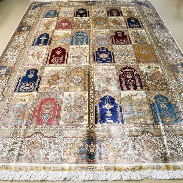 Mingxin 6 56x9 84 Feet Geometry Rugs Four Season Oriental Rug Handmade Silk Persian Carpet