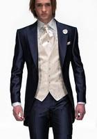 Hot Sale Custom Groom Tuxedos Formal Wear Wedding Suits Groomsman/Bridegroom Best Man Wholesale ( Jacket+Pants+Vest ) Fit Suit