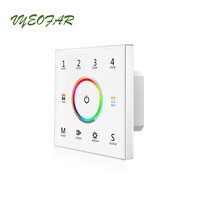 Led RGB+CCT Strip Controller DMX master & 2.4GHz Dual Function 100V 240V Wall Mount Touch Panel 4 Zone RGBCCT Strip Controller