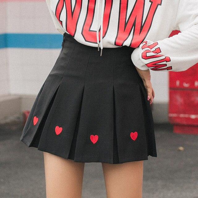 2018 de Institut Nouvelles Vent Automne Coeur Femmes Mignon Style forme Minijupe Japon en Plissée Broderie rPrxwRY