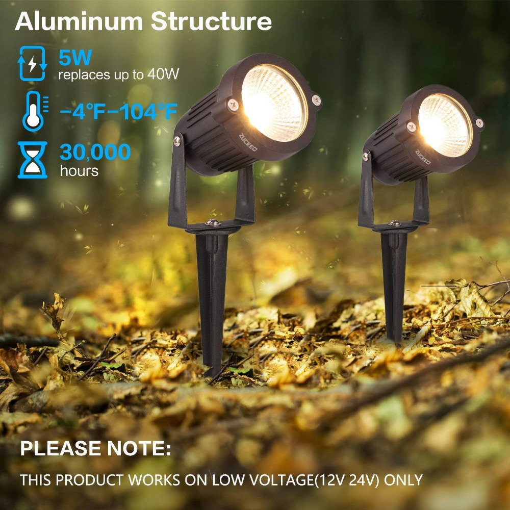 Lawn,Warm White Landscape Spot Lights 12V Pathway Lighting Waterproof COB Led Garden Lights with Spike Stand for Garden B-right Led Spotlights Outdoor 4 Pack Yard