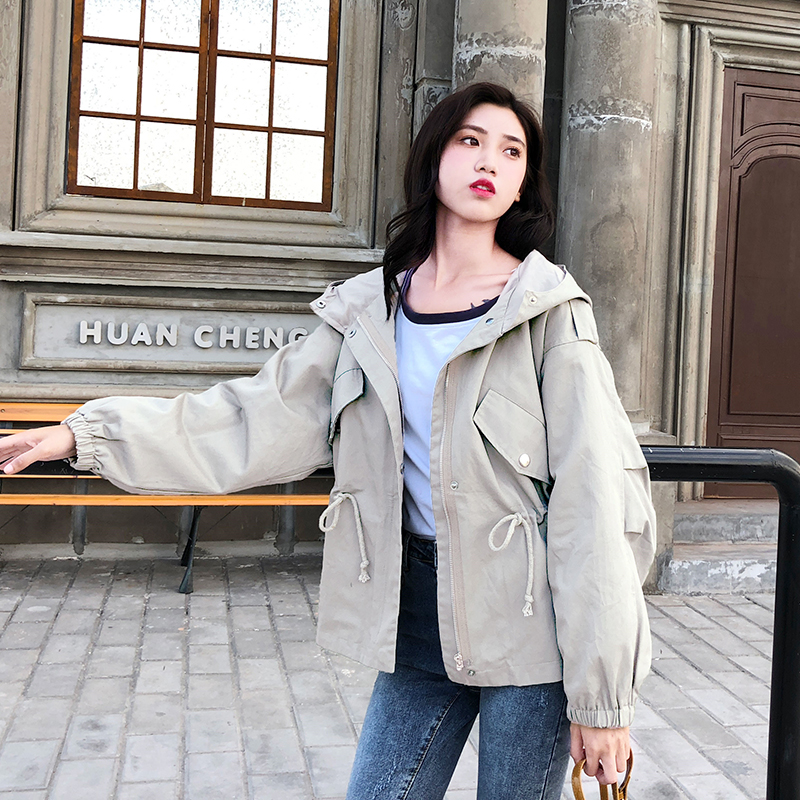 FTLZZ New Loose Trench Coat Spring Autumn Women's Hooded Black Green Windbreaker Outerwear Female Casual Trench Coat 1