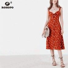 ROHOPO Double Layer Women Spaghetti Strap Midi Dress Tie Chest Botton Fly Elegant Flared Printed Tiny Floral Vestido #YY034H