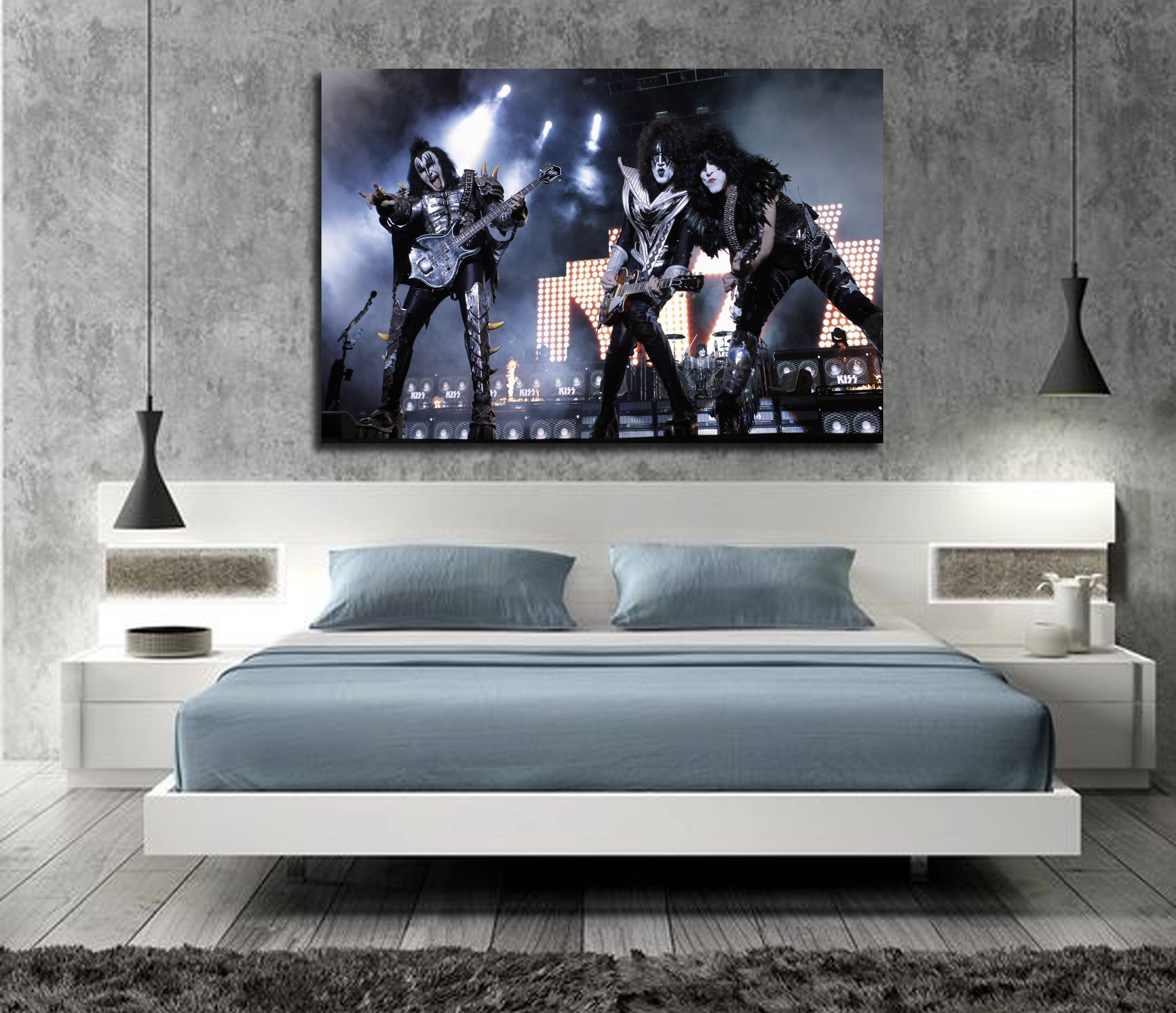 Nice Silk Fabric Cloth Wall Poster Print KISS Band Heavy Metal Music