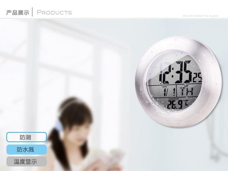 aliexpresscom acheter douche tanche silencieux horloges numriques mur cuisine salle de bain ventouse horloge montre moderne mode design date - Horloge Salle De Bain Ventouse