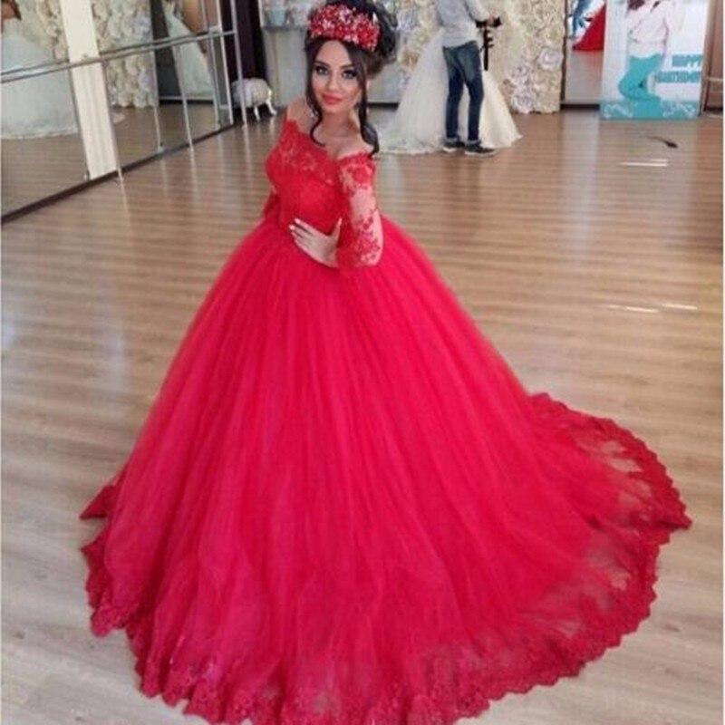 rouge manches longues robes de marie robe de bal 2016 dentelle dans le dos tulle - Ruban Rouge Mariage Turc