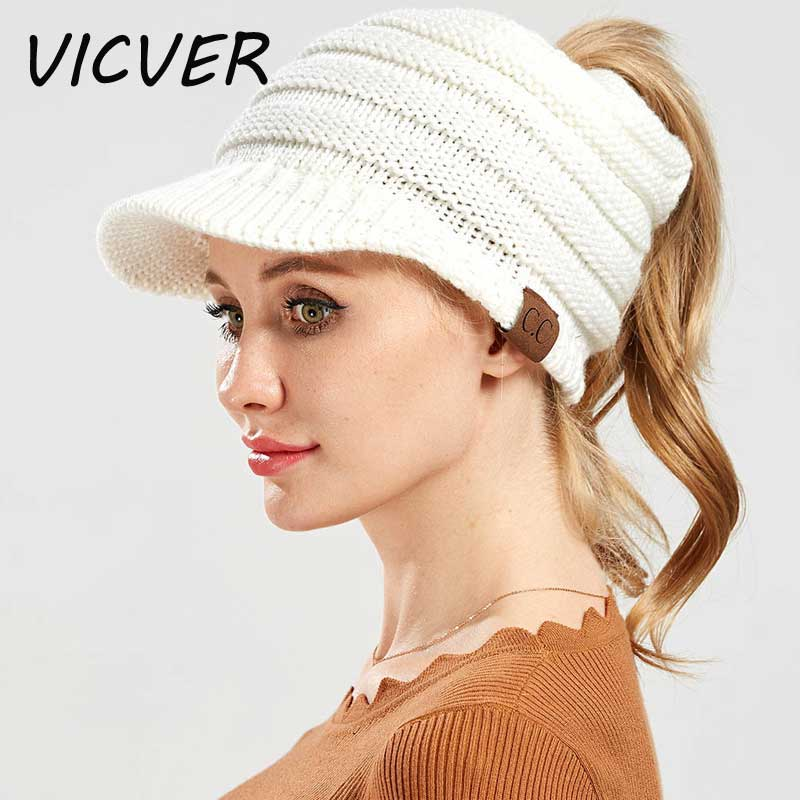 CC Ponytail Beanie Hats for Women Stretch Messy Bun Ponytail Hat Casual  Solid Color Hip Hop Skullies Beanie Knitted Warm Ski Cap b942de1044b