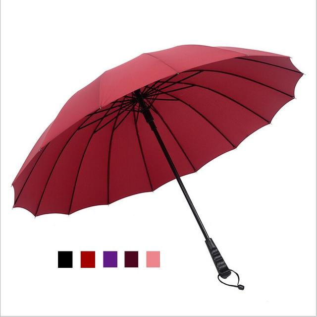 windproof solid color large male umbrella long handle rainy big