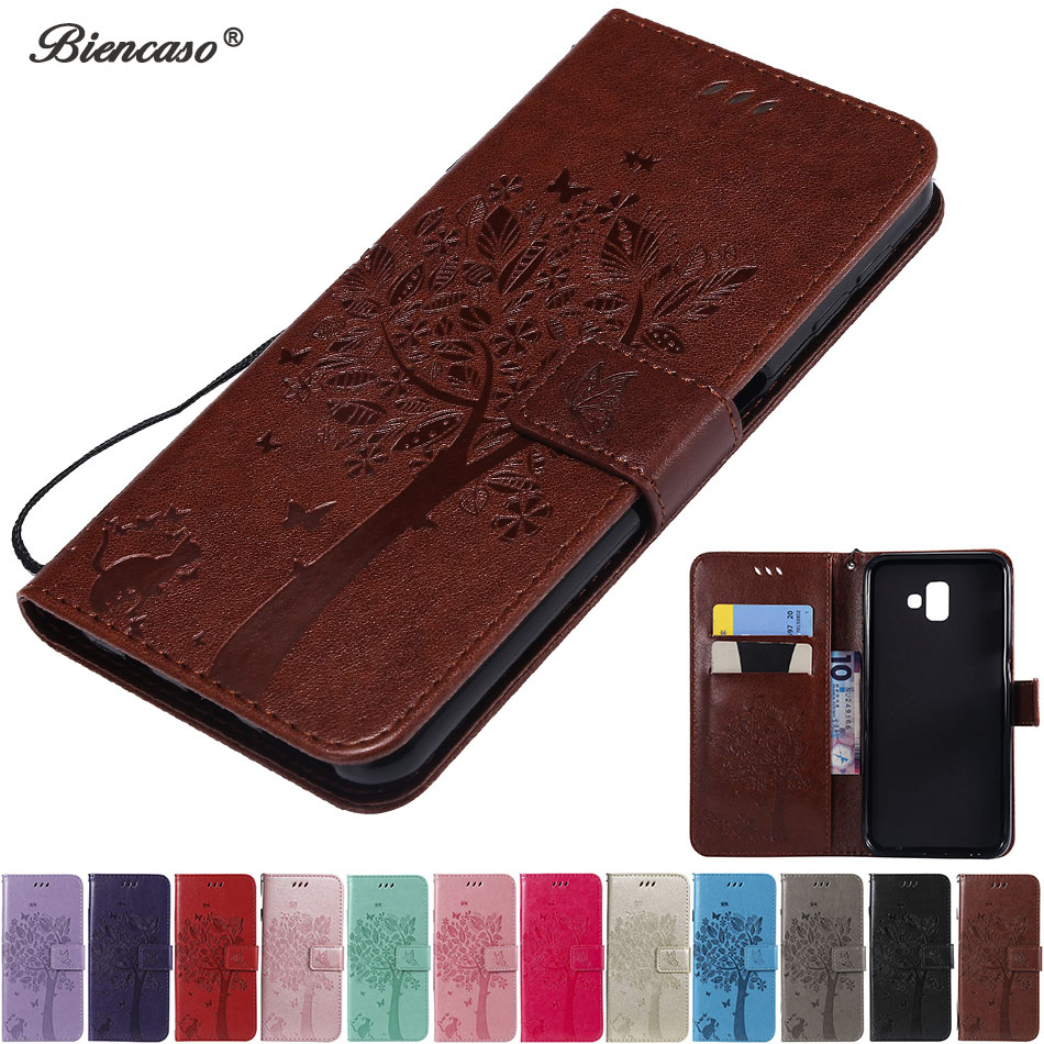 Magnetic Wallet Phone Case For Samsung Galaxy <font><b>J1</b></font> <font><b>2016</b></font> J120 J3 J5 J7 2017 J330 J530 J730 J4 Plus J6 Prime Flip Card Slot Cover image