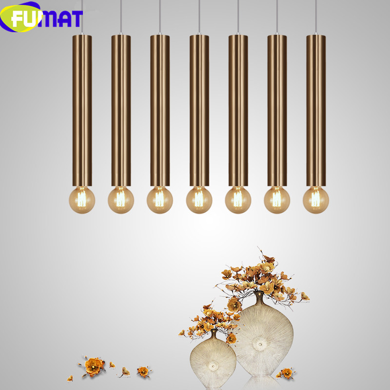 Dinning Room Lighting Fixture Modern Kitchen Lamp Living Room Bar Counter Shop Pipe Luster Study Gold Cylinder Pendant Lights