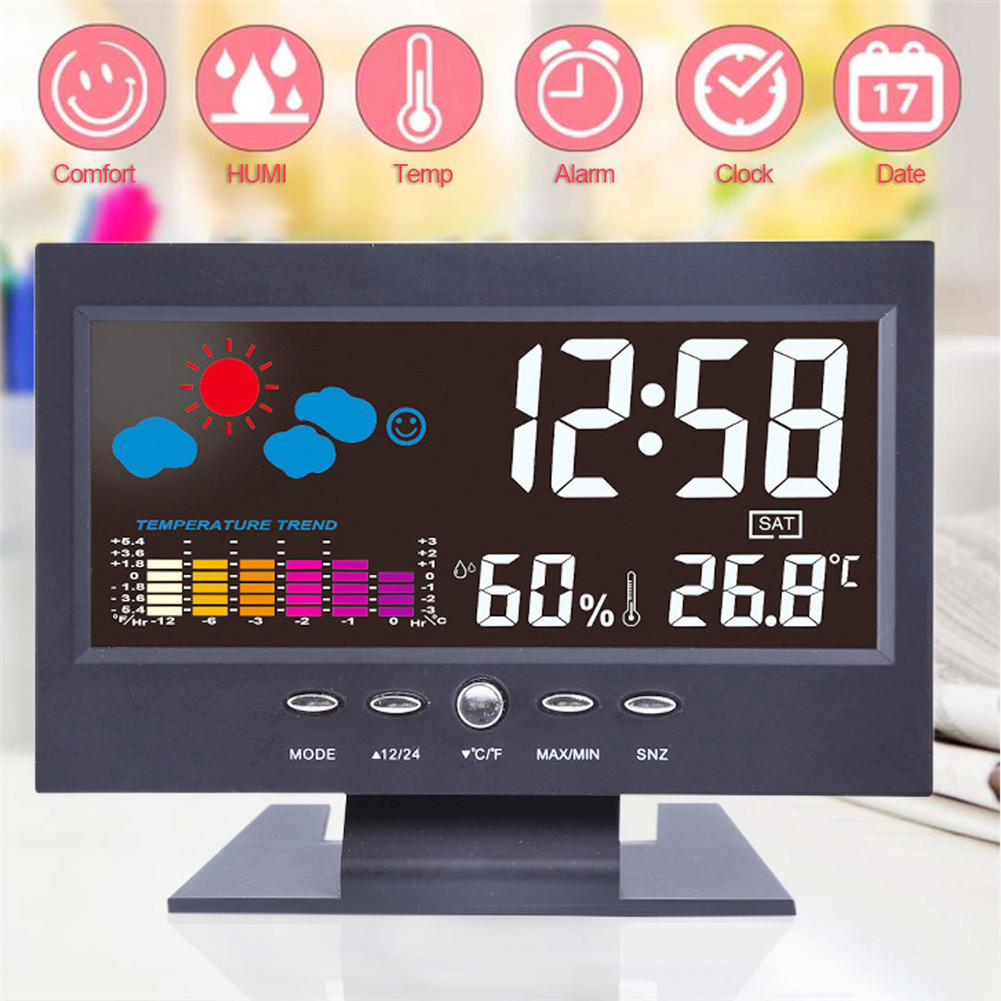 Digital LCD Thermometer Hygrometer Electronic Temperature Humidity Meter Weather Station Indoor Outdoor Tester With Alarm Clock пилинг diademine очищающий пилинг основная программа 100 мл