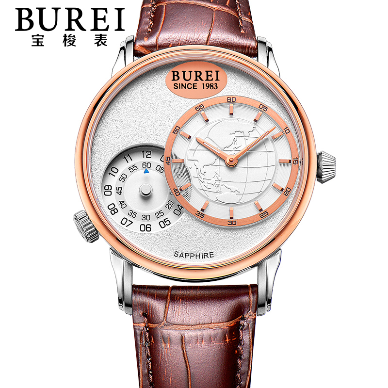 BUREI Mens Sapphire Crystal Genuine Leather Band Dual Time Zone Quartz Watch Waterproof Wristwatches With Premiums Package 5009 цена