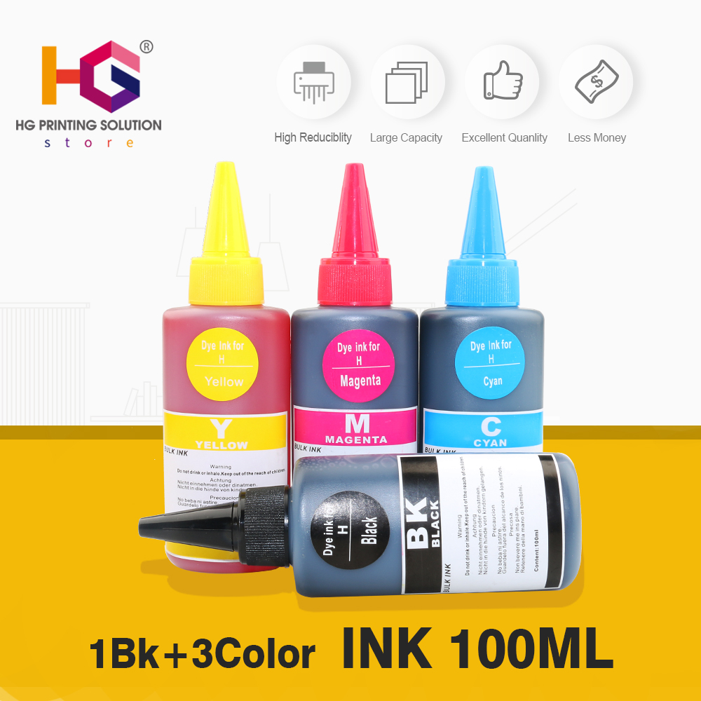 100ml Universal Compatible Refill Dye Ink kit Replacement for <font><b>HP</b></font> 121 122 <font><b>140</b></font> <font><b>141</b></font> 300 301 302 21 22 61 650 652 651 image