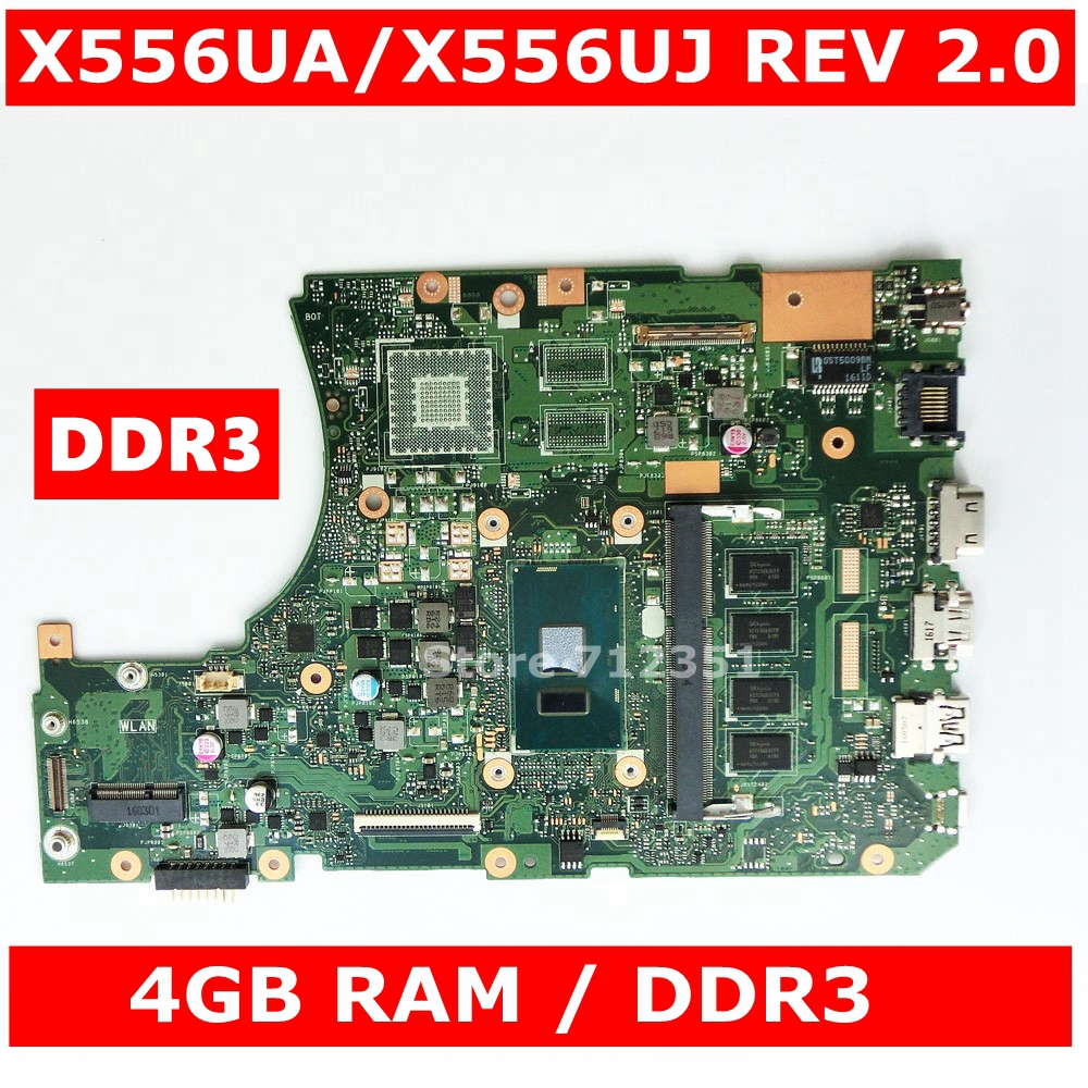 <font><b>X556UA</b></font> i3-6100 CPU 4GB RAM Mainboard REV2.0 For <font><b>Asus</b></font> <font><b>X556UA</b></font> X556UJ X556UV X556U K556U FL5900 Laptop Motherboard DDR3 100% Tested image
