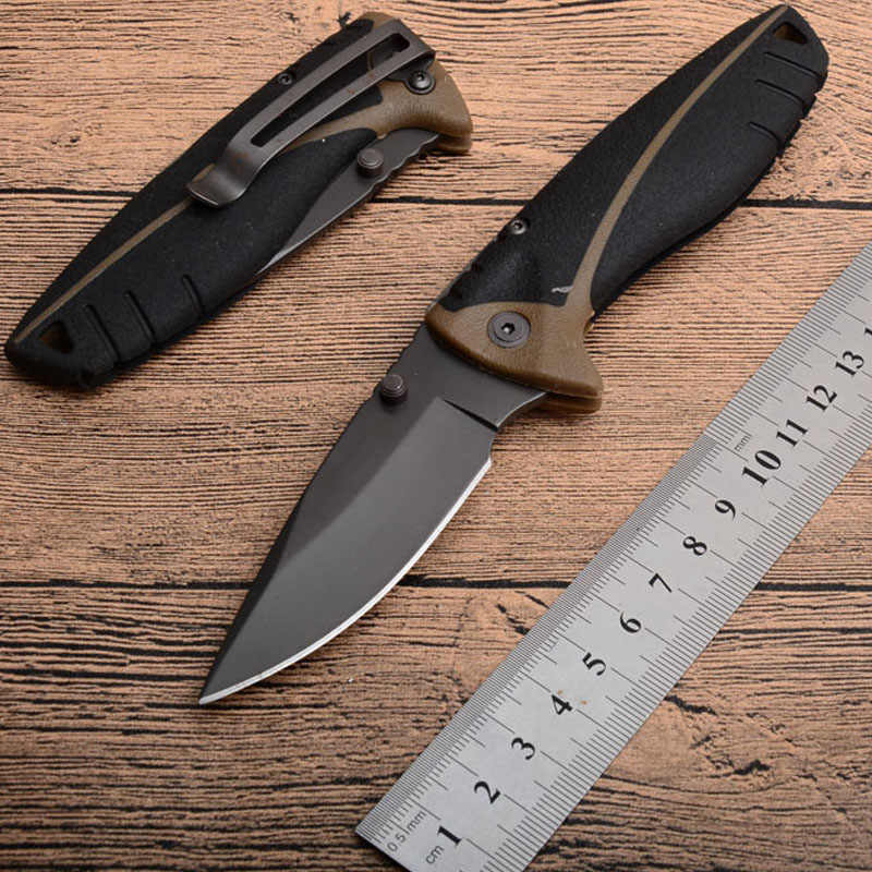 Brand 18CM Compact Scout Folding Knife Outdoor Camping Survival Knife 7CR17 Serrated Blade Rubber Handle + Box and Manual