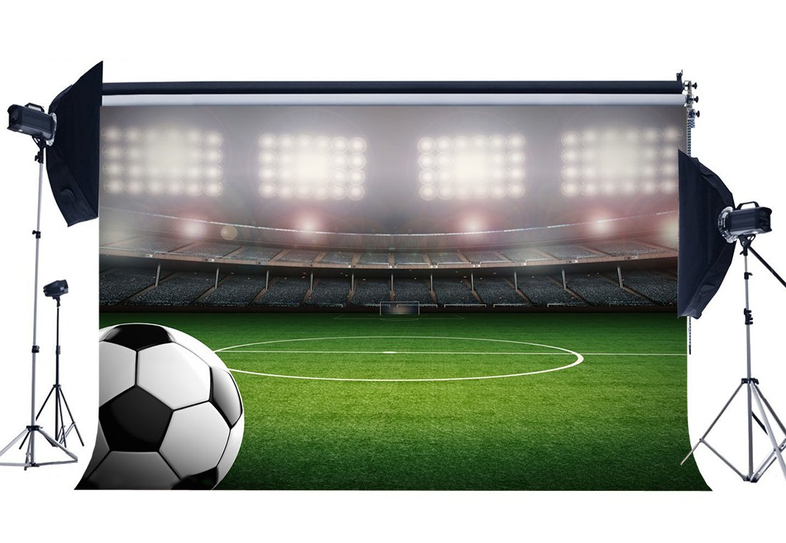 Football Field Backdrop Indoor Stadium Stage Lights Green Grass Meadow Sports Match School Game Background-in Photo Studio Accessories from Consumer Electronics