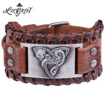 LIKGREAT Viking ювелирные изделия кожаный браслет лиса Triquetra Fenrir животное подросток Волк троица вера благословение манжеты браслеты Кнопка