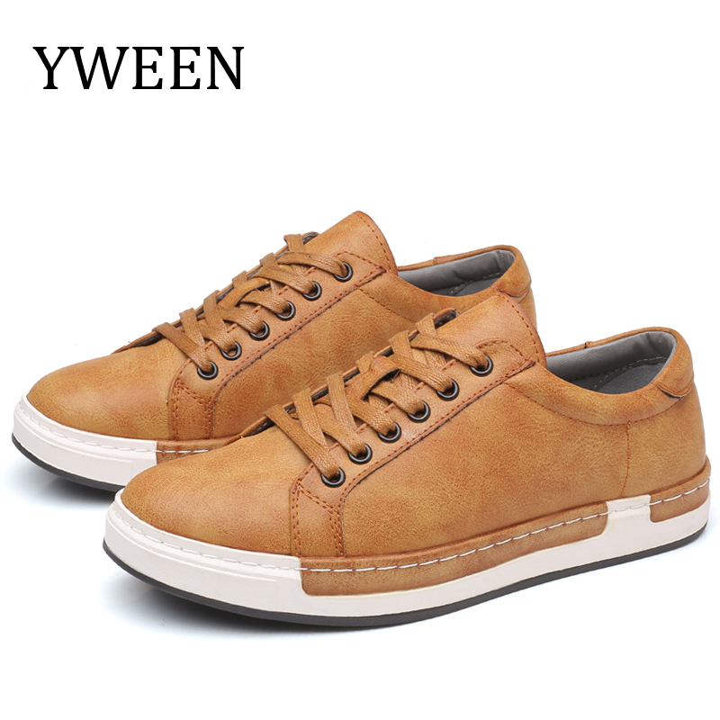 YWEEN New Men's Casual Shoes New Arrival Lace-up Style Flat Leather Shoes Men Big Size Shoes