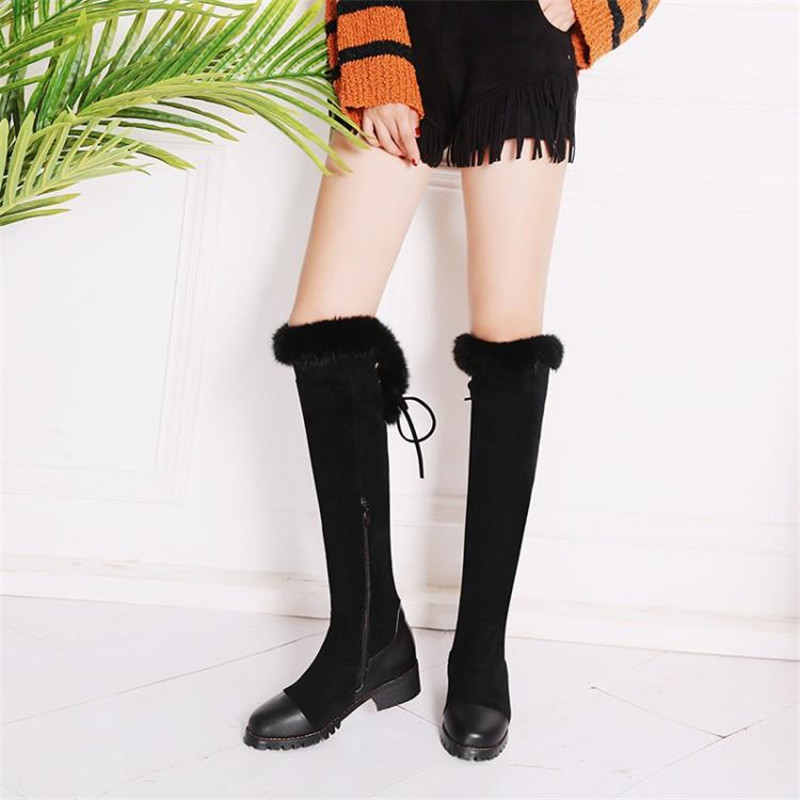 Women\`s Thigh High Boots Autumn Winter Slim Long Tube Over the Knee Boot Big Size 33-43 Female Snow Boots Black Brown Lady Shoe (9)