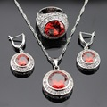 Red White Cubic Zirconia Silver Color Jewelry Sets For Women Christmas Necklace Pendant Drop Earrings Rings Free Gift Box