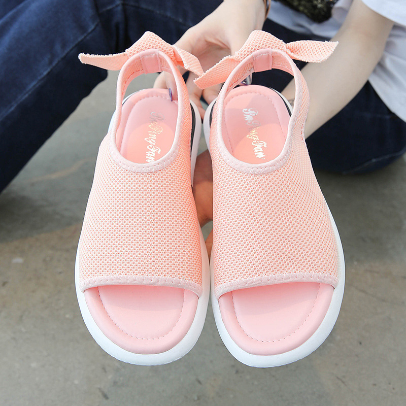 Sandals Female 2019 Summer New Student Leisure Sports Sandals Flat Bottom Bow Net Breathable Sandals Female