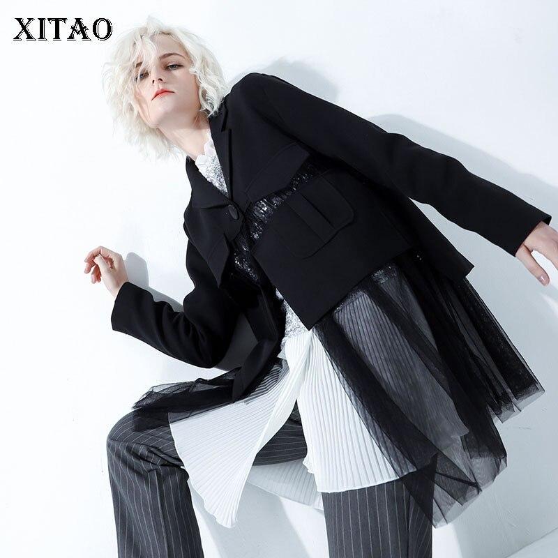 xitao Analytisch Gelegentliche Persönlichkeit Mode Neue 2019 Frühling Kerb Kragen Einreiher Einfarbig Casual-taste Blazer Mantel Wbb1897