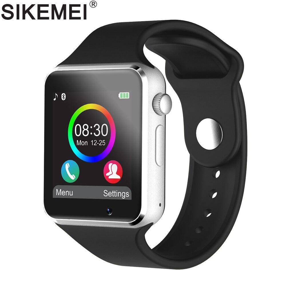 SIKEMEI Bluetooth Smart Watch Smartwatch Telefon mit Schrittzähler Touchscreen Kamera Unterstützung TF SIM Karte für Android iOS Smartphone