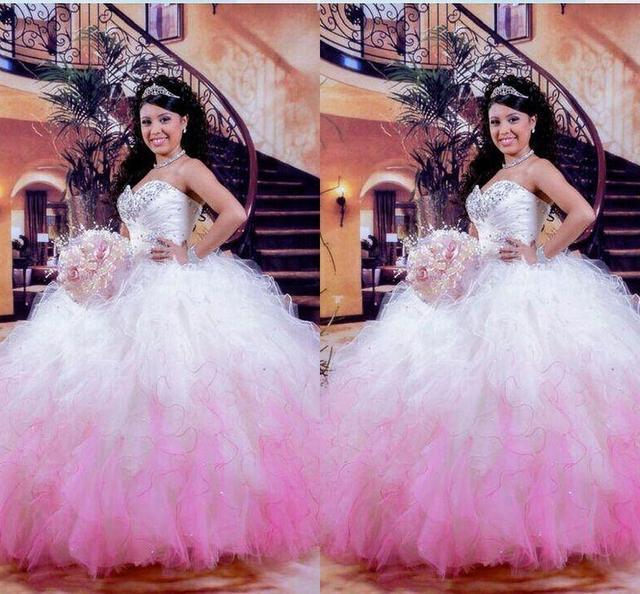 61ff81b1e2 Increíble blanco y fucsia Quinceanera vestidos 2016 barato balón vestido de  novia hasta encaje capas perlas
