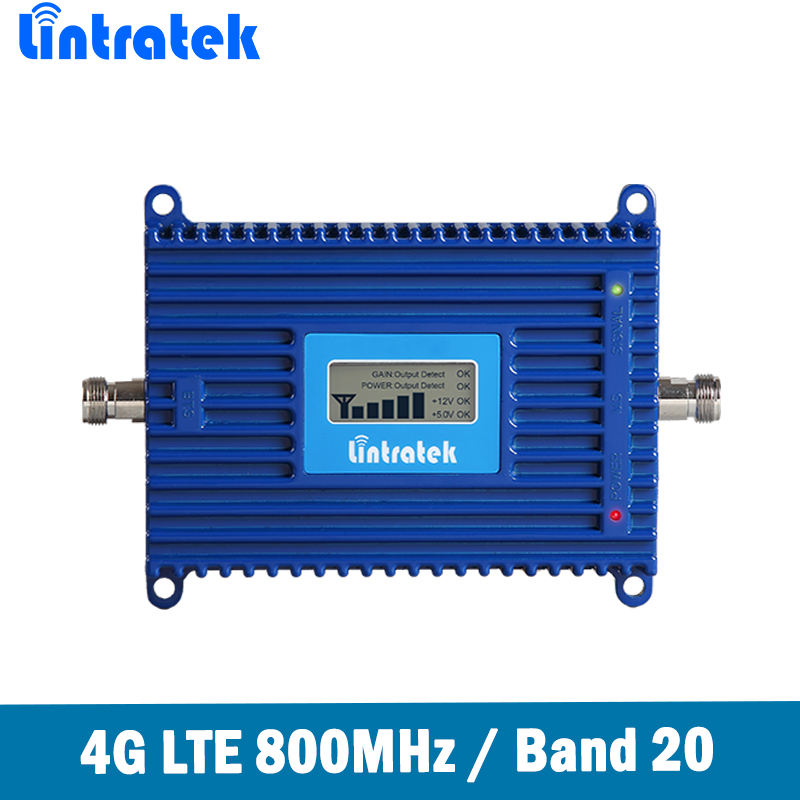 Lintratek 70dB Gain 4G LTE 800MHz(Band 20) Cell Phone Signal Booster LTE 800MHz Mobile Signal Repeater Amplifier For Europe @6.7