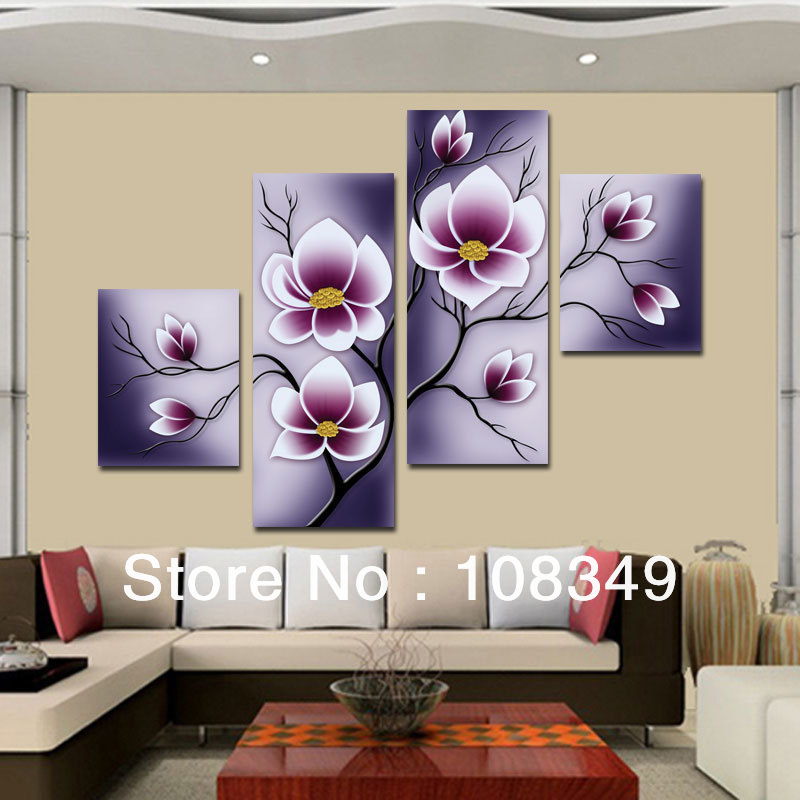 Hand Painted Wall Art Waving Red Flowers Home Decor Landscape Frame Canvas Oil Painting 4pcs Set Mixorde In Calligraphy From Garden