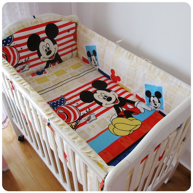 ФОТО Promotion! 6pcs Mickey Mouse Baby Cot Bedding Set Bed Linen Newborn Cartoon Detachable,include (bumpers+sheet+pillow cover)