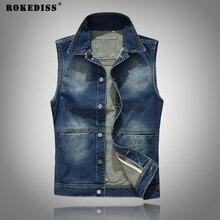 ROKEDISS 2017 New Men's Denim Vest Male Jeans Waistcoat Man Sleeveless Jackets Men Solid color Men's denim vests W112