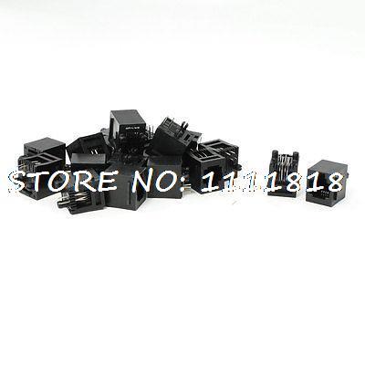 19Pcs Vertical PCB Mounting RJ11 6P4C Modular Jack Female Connector 24 pcs rj45 modular network pcb jack 56 8p w led 4 ports