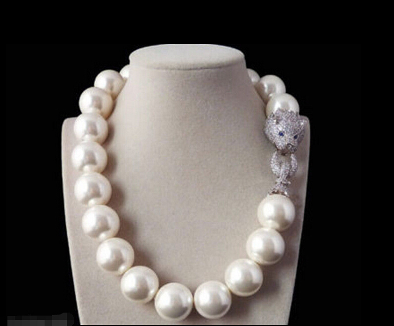 FREE SHIPPING Rare 20mm White Shell Pearl Necklace Belt White Leopard Head CZ Clasp Noble