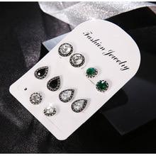 RAVINOUR Brincos Femme 4Pairs Bohemian Stud Earring Set Boho Green Black Crystal Droplet Earrings for Women Jewelry Indian 2018