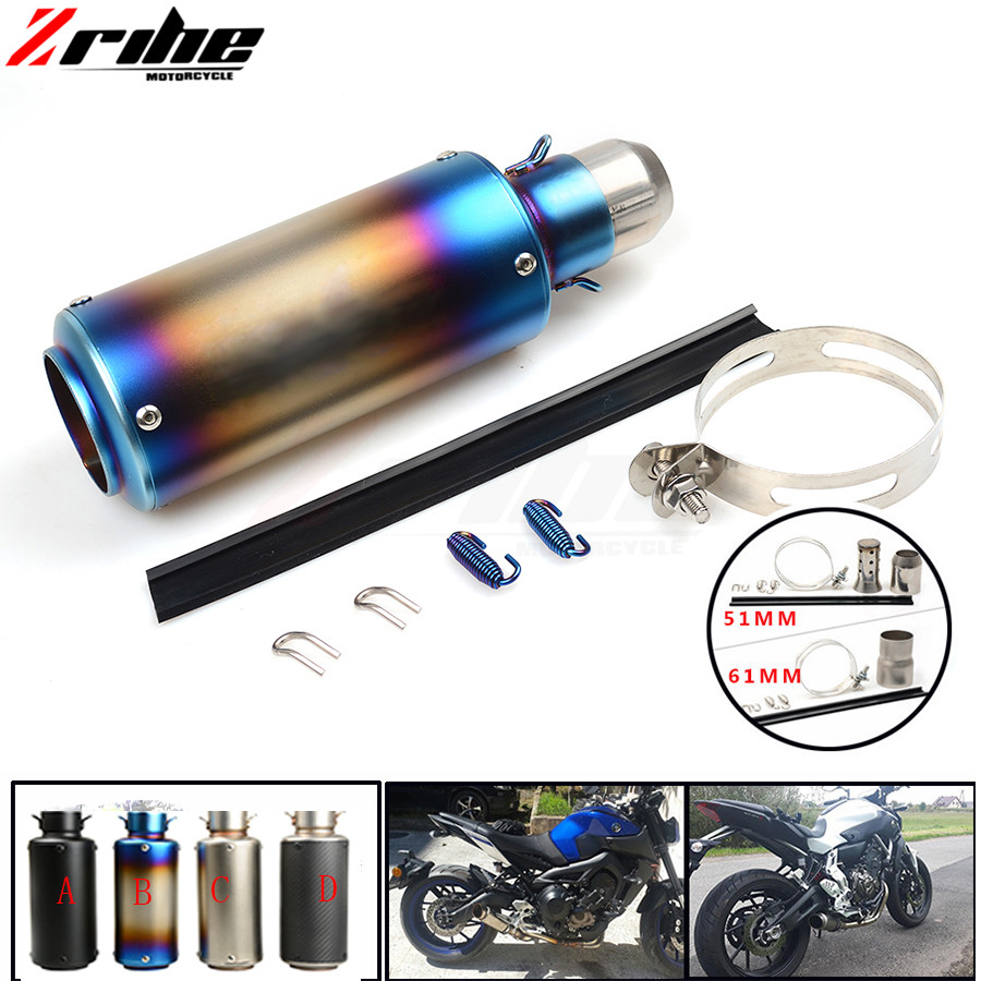 For 36-51 / 61mm Motorcycle Exhaust Pipe Scooter Modified Muffler Pipe Universal For Honda Yamaha MT-07 MT-09 FZ9 SR 2014 2015 M