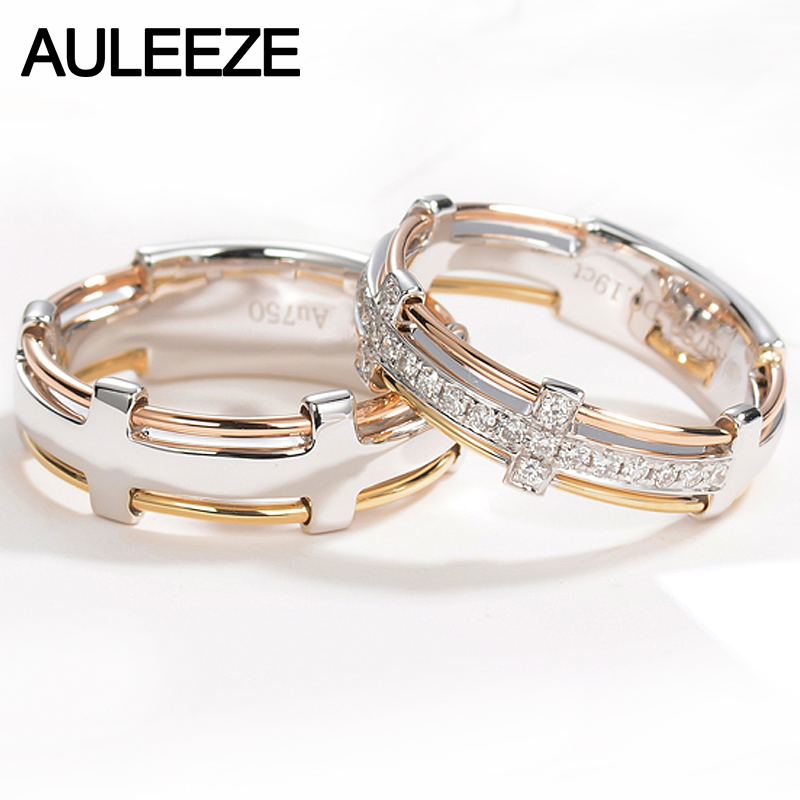 AULEEZE Unique Line 18K Solid Gold Band Natural Real Diamond lovers Rings White Yellow Rose Gold Wedding Anniversary Couple Ring szjinao aquamarine ring real 14 k yellow gold rose ring handmade weeding engagement rings