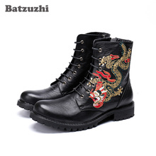 Batzuzhi Genuine Leather Ankle Motorcycle Men Boots Round Toe Totem Fashion Men Boots Botas Hombre, Runway, Party Short Boot Man metal decor luxury brand superstar runway men boots sapatos masculino design men ankle short booties western cowboy hommes boot