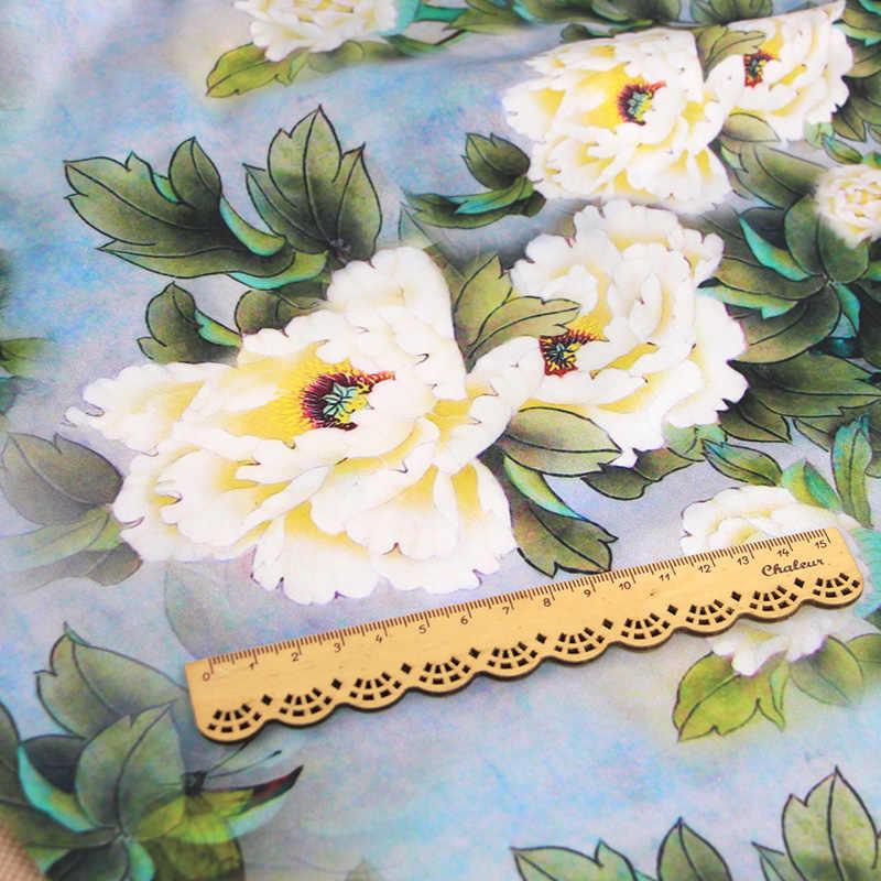 FYS59 50*140 cm Putih Peony Cina Kain Sutra Untuk Wanita Gaun Qipao Gambiered Canton Kasa Kain Kain DIY Syal sutra Kain