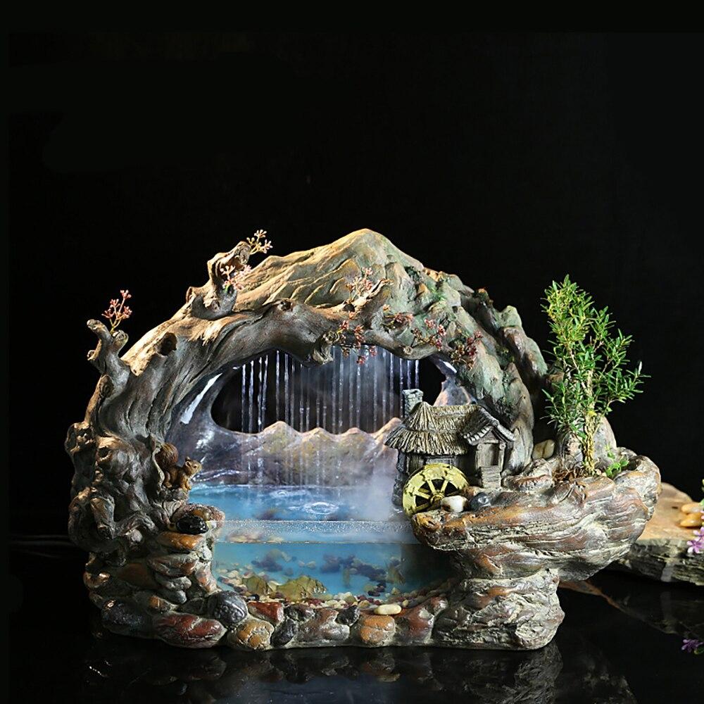 Créatif eau chanceux décoration bureau poisson étang bureau Style chinois ornements d'eau aquarium aménagement paysager rocaille