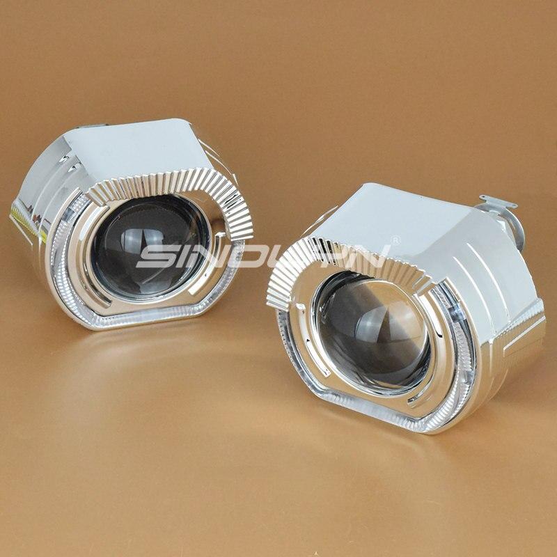 Sinolyn LED feux de course ange yeux HID Bi xénon projecteur lentilles pour phares H4 H7 voiture rénovation phare lentille diable yeux - 3