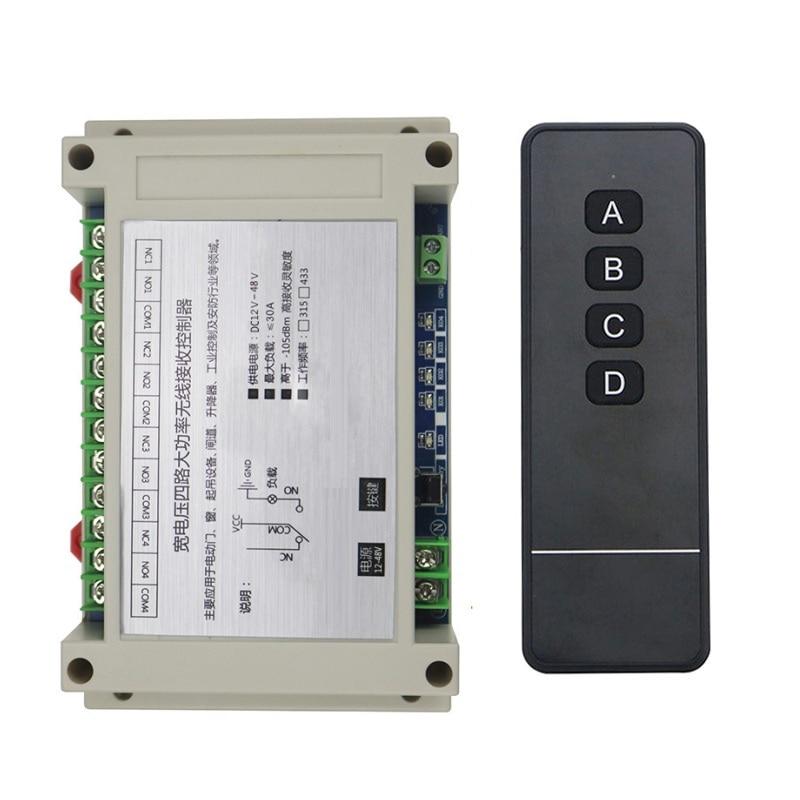 DC12V 24V 36V 48V 4CH RF Wireless Remote Control Relay Switch Security System Garage Doors, Electric Doors/window /lamp 4ch rf wireless remote control relay switch security system1receiver
